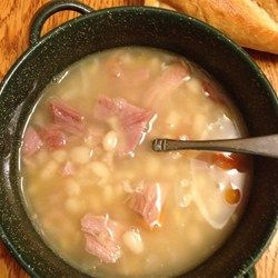 Navy Bean Soup with Ham Allrecipes.com; made a BIG pot and had leftovers for days; we even froze much of it and had it several weeks later