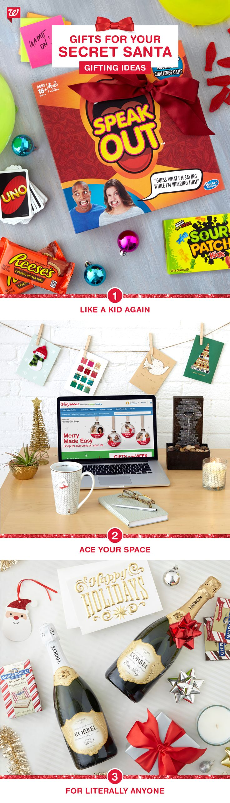 From zen spaces to engaging games (that get everyone in on the fun!) to sparkling wishes and chocolatey dreams, Walgreens has everything you need to ace any Secret Santa, even if you don't know the recipient well.