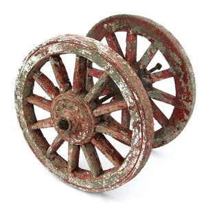 These Vintage Wagon Wheels Are For Garden Decor And Are Made Of Concrete!