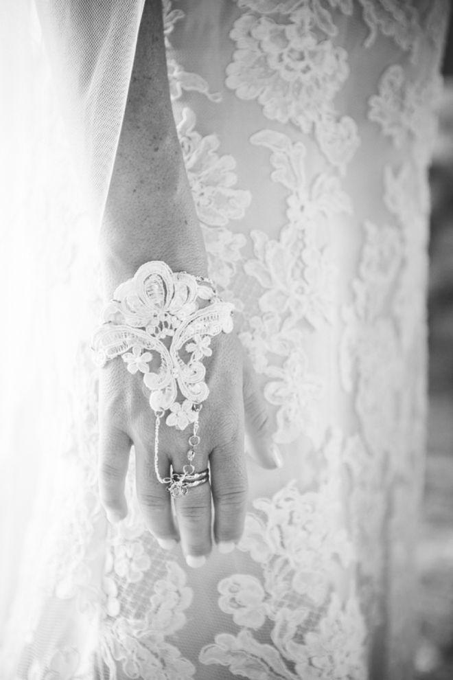 Amazing lace wedding bracelet and ring... Image: Bonnallie Brodeur Photographe