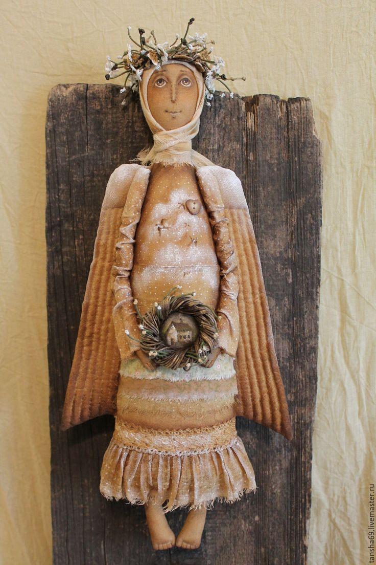 Купить Ангел-хранитель - бежевый, текстильная кукла, ароматизированная кукла, интерьерная кукла, ангел