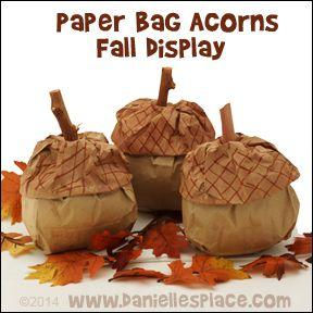 Paper Bag Acorns Fall Display from www.daniellesplace.com