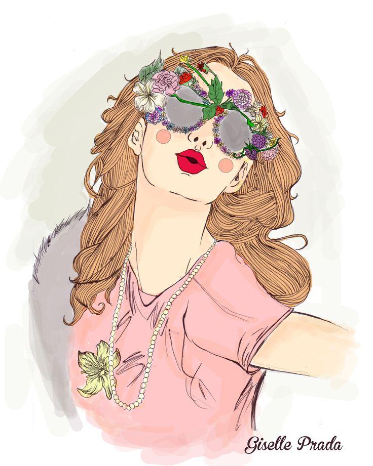 kiss girl sunglasses illustration hand drawing