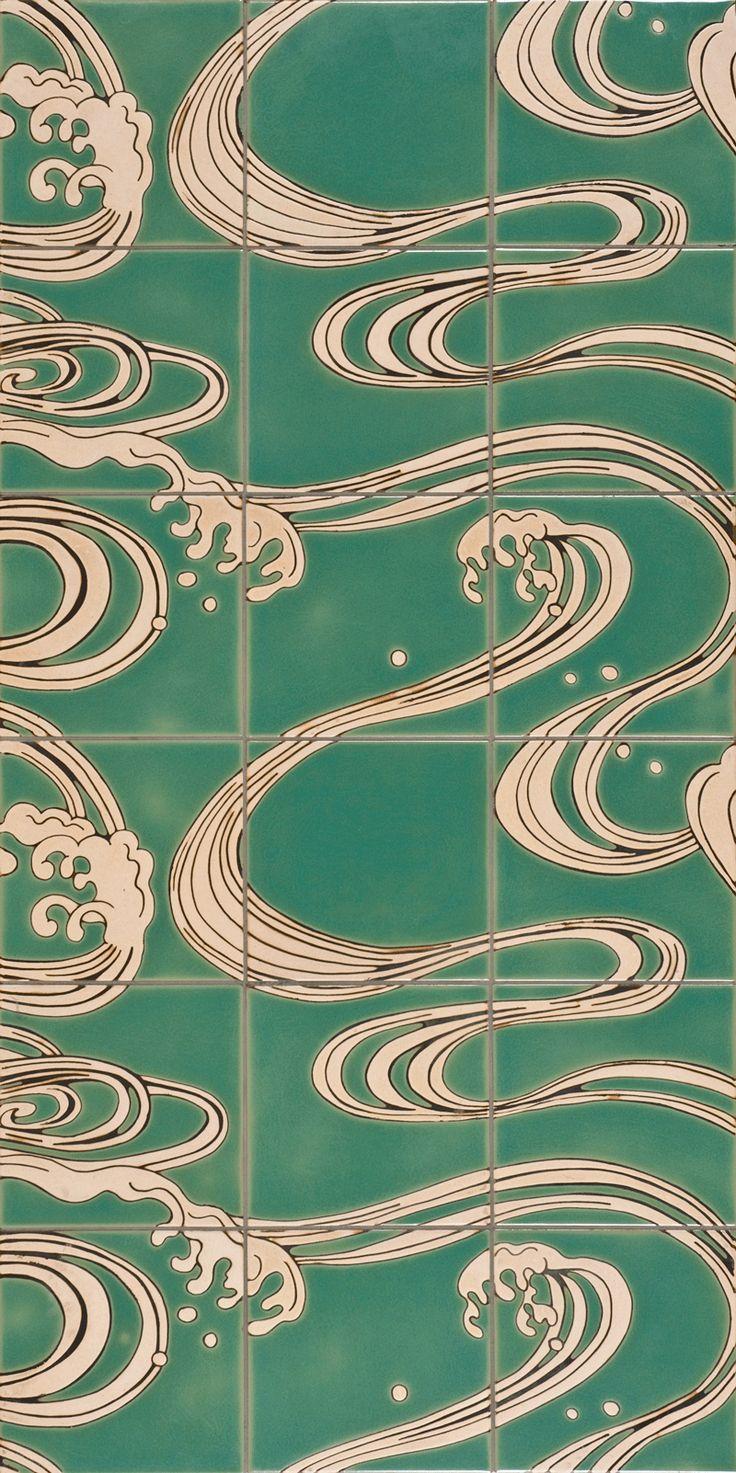 ANN SACKS Sakura asian wave ceramic mural in jade and raw silk