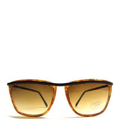 Vintage 90s mat zwart met bruin zonnebril met dun montuur