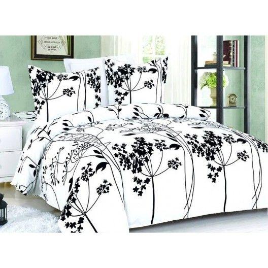 Biele posteľné obliečky so vzorom