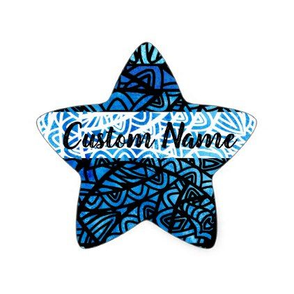 Watercolor Stained Glass Abstract Pattern Custom Star Sticker - watercolor gifts style unique ideas diy