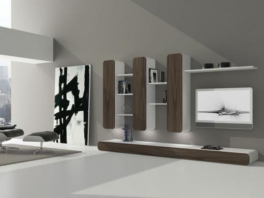 Composicion de comedor con vitrinas verticales. Pianca en Mobles Urgell.