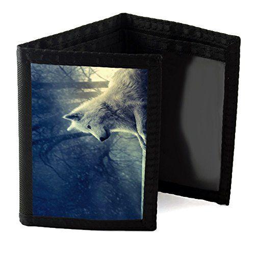 Wilde Tiere 10095, Wolf, Designer Schwarz Unisex Nylon Geldb�rse Kreditkarte Holder Ripper Portemonnaie Geldbeutel mit Farbig Design.