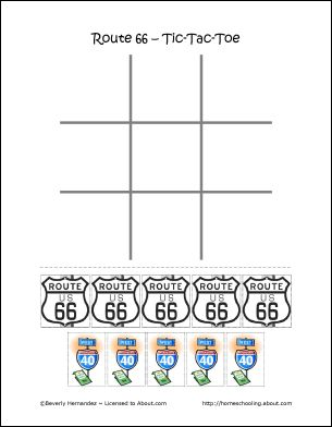 free route 66 printable tic tac toe