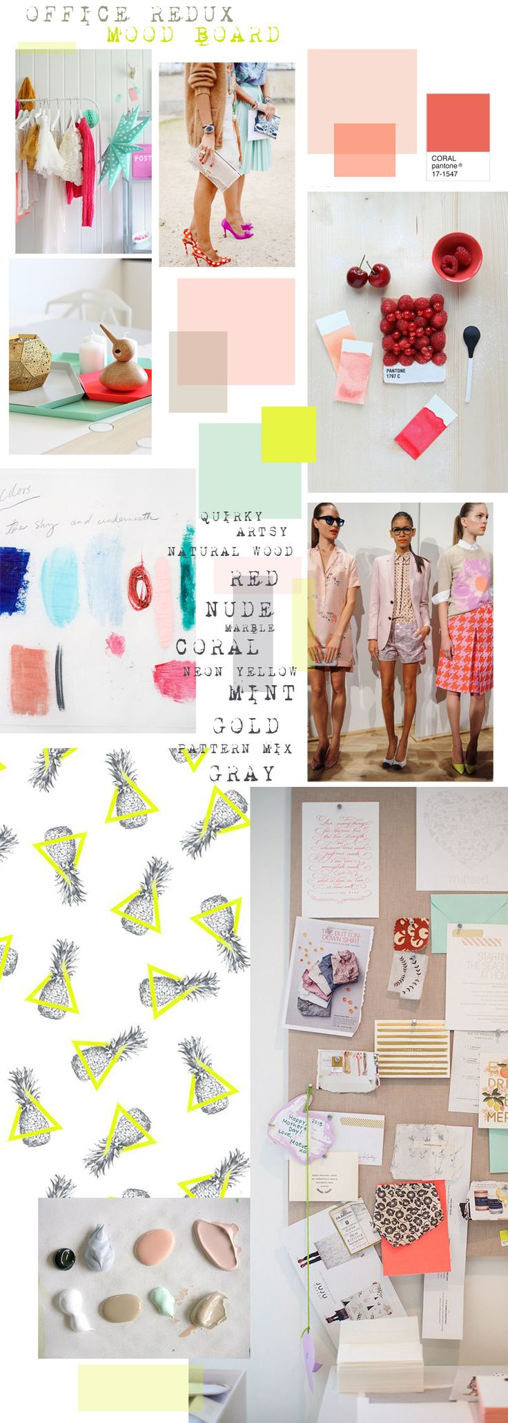 Colors: Mint, Nude, Blush, Coral, Shots of red, Shots of neon yellow, black, gray  Materials/Etc.: Natural wood, white glossy furniture, marble, metallic gold, lucite, glass, lots of pattern