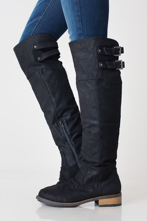 Snuggle up to the coming fall and winter season in this soft vegan leather knee high boot by Nectar Clothing. This new black knee high boot has the same fit and features we loved about last seasons Kn