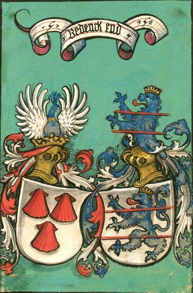 Eyb (Ludwig von), «Turnierbuch», Süddeutschland, um 1525 [BSB-Hss Cgm 961] -- Coat of arms (f°1) -- Presentation at: http://bibliodyssey.blogspot.fr/2009/09/prancing-knights.html