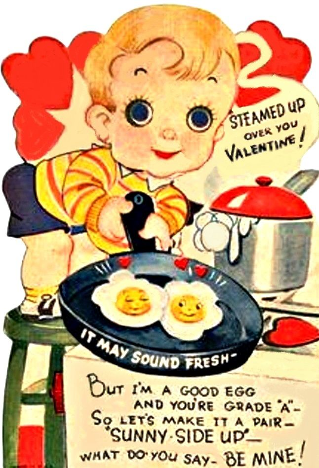 vintage Valentine cooking eggs and is steamed up
