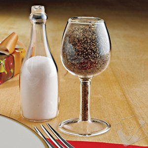 Wine Glass and Bottle Salt & Pepper Shakers (Set of 2) at Wine Enthusiast - $12.95  #WineEnthusiast