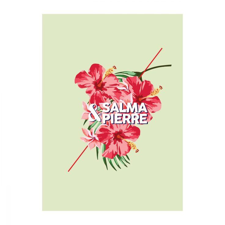 Faire-part de mariage de la collection maui, theme tropical avec fleurs de tiaré et fleur d'hibiscus d'hawaii
