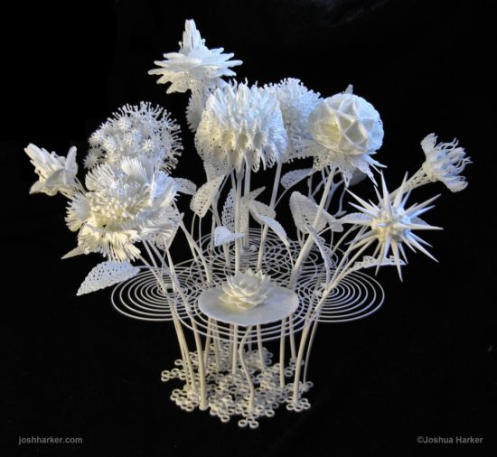 Joshua Harker's Floral Filigree Series and 3D Portrait debut at 3D Printshow #3dPrintedHomeDecor