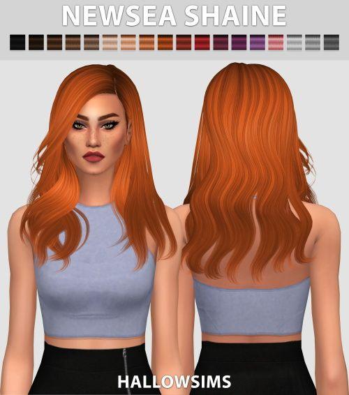 Hallow Sims: Newsea`s Shaine hair retextured  - Sims 4 Hairs - http://sims4hairs.com/hallow-sims-newseas-shaine-hair-retextured/