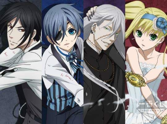 Sebastian, Ciel, Undertaker, and Lady Elizabeth. Black butler book of Atlanta.
