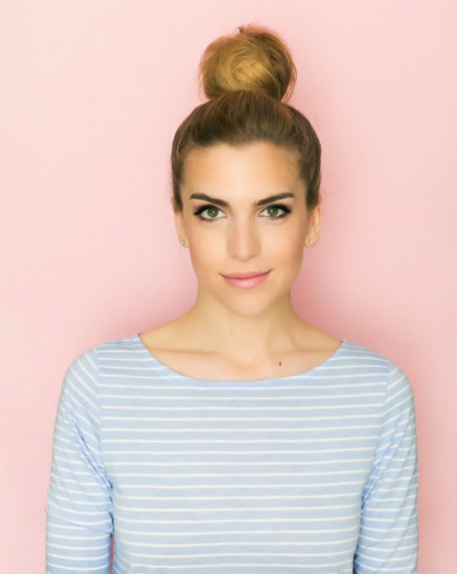 Conquer any snow day with a cotton candy bun hairstyle.