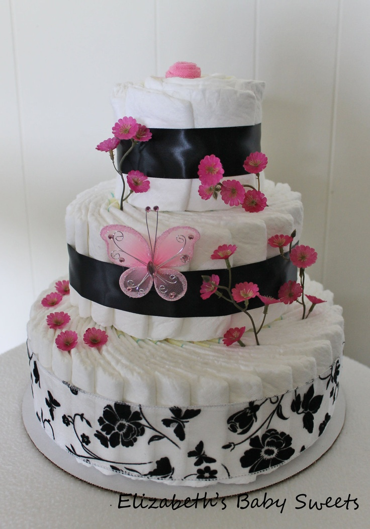 Butterfly Meadow - girl diaper cake.