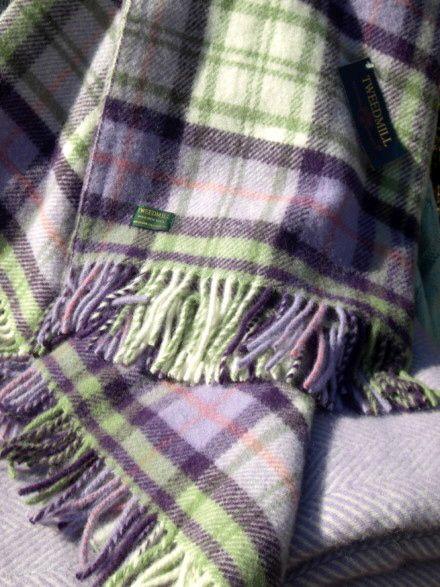 Tweedmill lilac check blanket