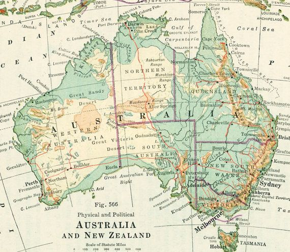 1930s Australia map print New Zealand map by EleanorsVintage