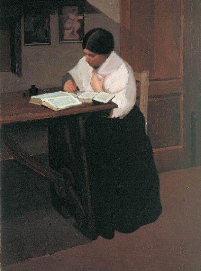 GHIGLIA,OSCAR,  DONNA CHE SCRIVE, 1908, olio su tela,