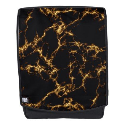 Elegant Marble style3 - Black Gold Backpack - marble gifts style stylish nature unique personalize