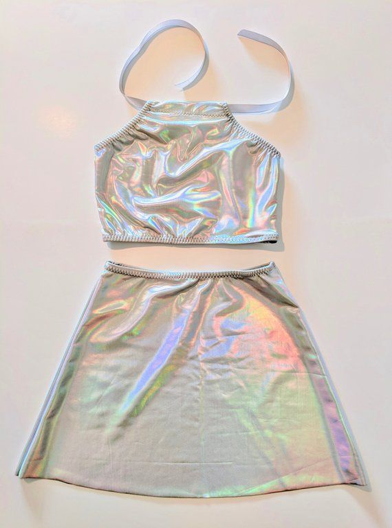 Holographic Skirt and Top COSTUME SET Sexy Alien Costume Outer Space Dress Music Festival Wear Cute Unicorn Costume Iridescent EDM Outfit