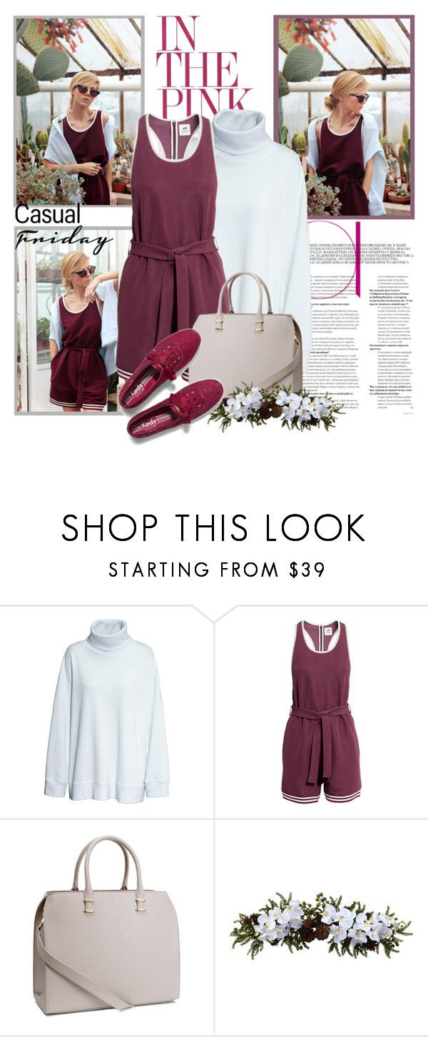 """""""H&M Summer 2015 (01.05.2015)"""" by gabby6886 ❤ liked on Polyvore featuring H&M, Nearly Natural, Keds, HM, jumpsuit, summer2015 and marsala"""