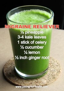 Migraine or headache is very often due to dehydration, or your body lacking in certain nutrients. Start hydrating withjuices that are rich with a variety of nutrients.    Types of Headaches A common tension headache is a dull ache that affects the whole head. Exertion headaches are usually short-lived, with pain in the …