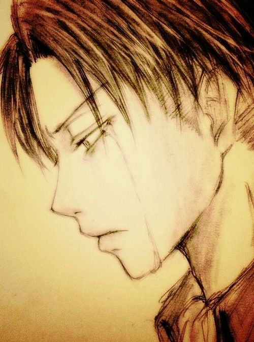 Levi     I imagine this happening when he returns inside the walls, after his squad was basically wiped out, and he meets Petra's father.