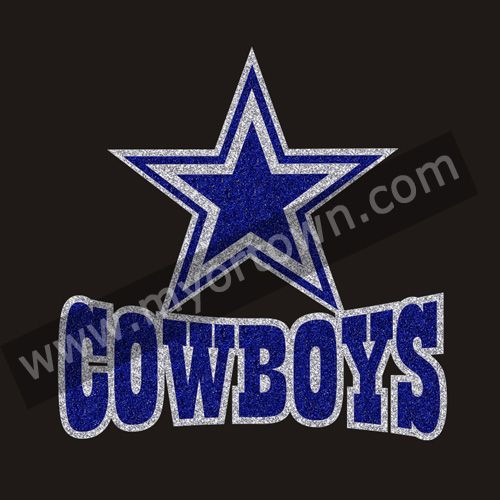 Wholesale Hot sales Dallas Cowboys Heart Rhinestone Glitter Bling transfer for T shirt wholesale price