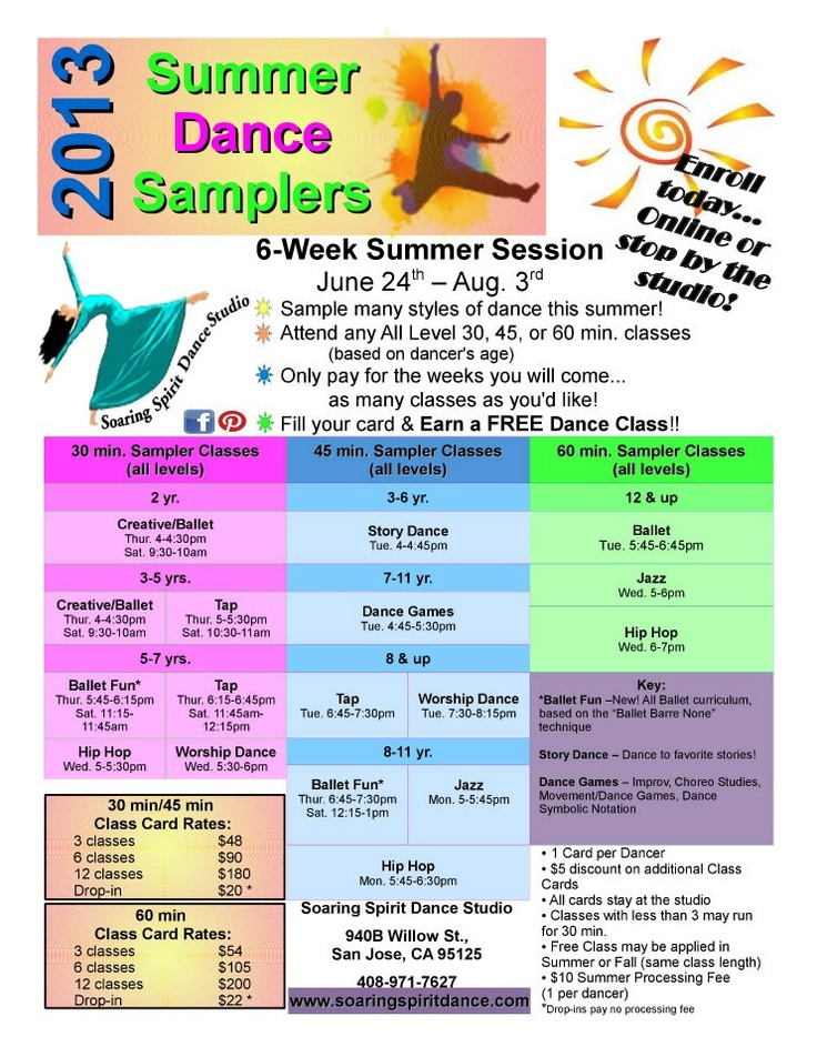 2013 Summer Dance Samplers! Dance in as many classes as you'd like this summer & earn a FREE Dance Class too!  www.soaringspiritdance.com for more information!