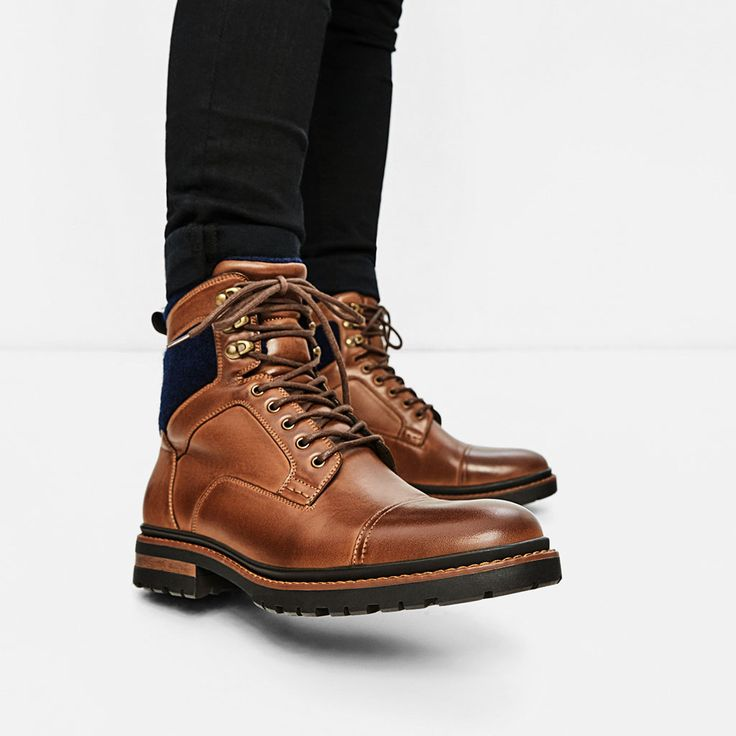Image 2 of BROWN WORKER BOOTS from Zara