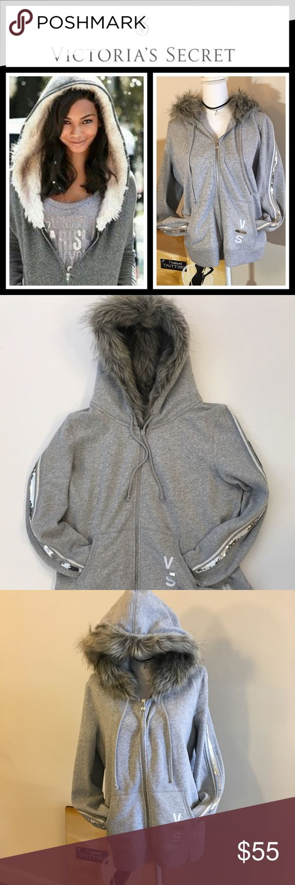 VS Grey faux fur hoodie NWOT New without tags's perfect condition sequin sleeve furry hood everything about the sweatshirt is amazing super warm and comfortable size is extra-large and fits true to size - slightly different than the stock photo on the front so see pics for actual item PINK Victoria's Secret Tops Sweatshirts & Hoodies