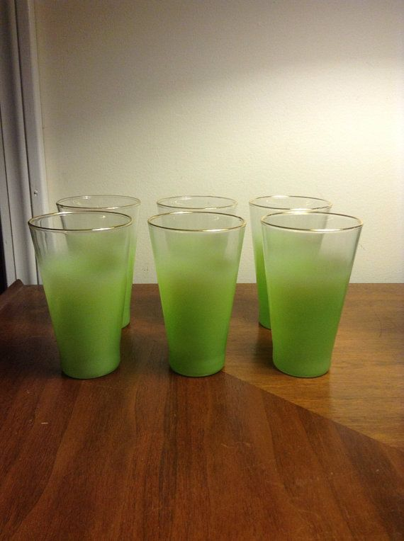Vintage Mid-Century Set Of 6 Blendo Style Highball Or Beer Glasses In Green - West Virginia Glass