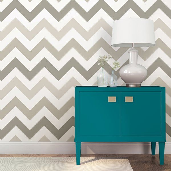 Wallpops Taupe Zig Zag Wallpaper Roll Reviews Wayfair Zig Zag Wallpaper Peel And Stick Wallpaper Dream Living Rooms
