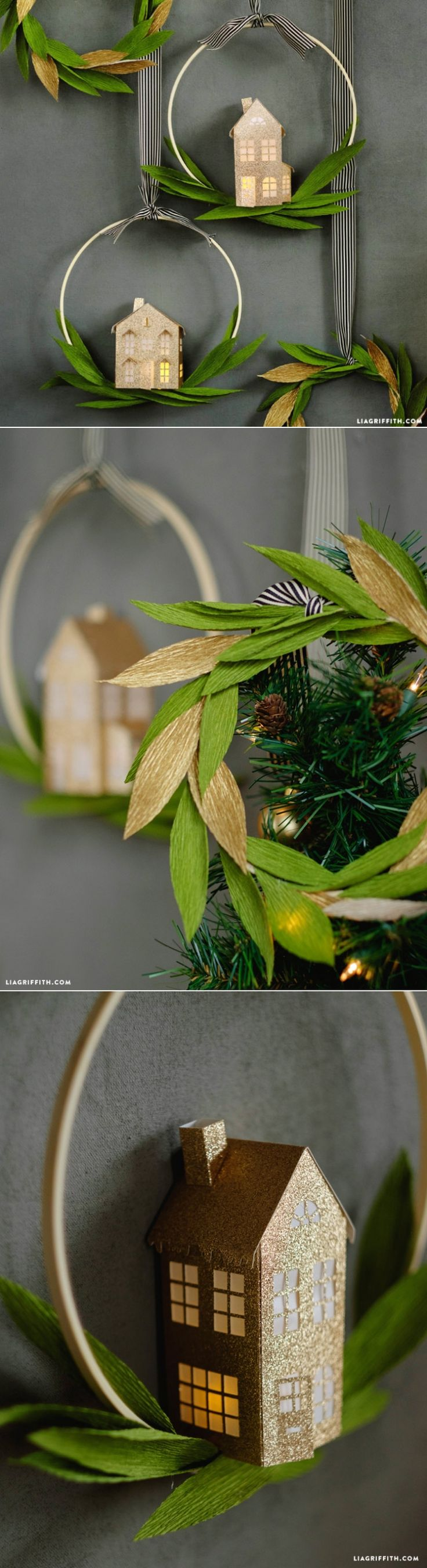 Make this laurel leaf wreath for the holidays. Full pattern and tutorial at LiaGriffith.com: