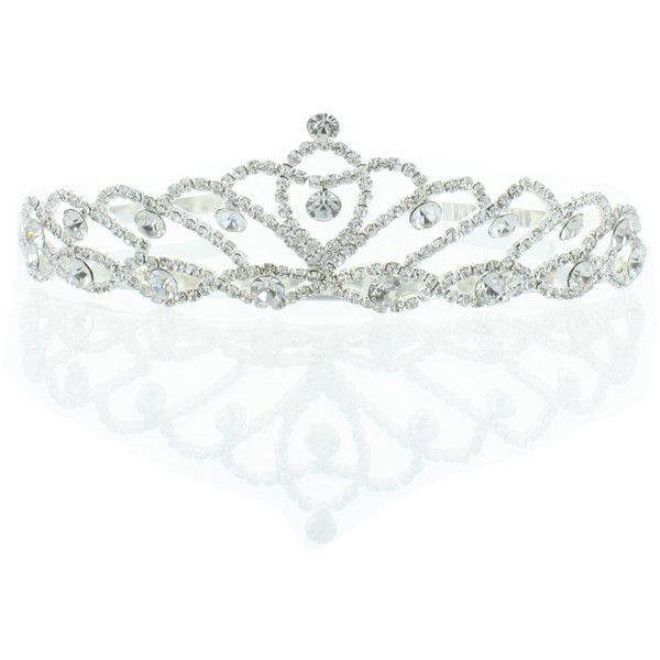 Kate Marie 'Iris' Silver Rhinestone Crown Tiara ($25) ❤ liked on Polyvore featuring beauty products, haircare, hair styling tools, accessories, jewelry, crowns, hair accessories, tiaras, silver and tiara crown