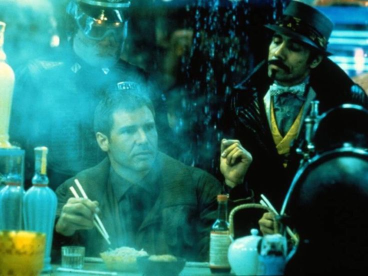 Harrison Ford as Rick Deckard and Edward James Olmos as Gaff in Ridley Scott's Blade Runner (1982)