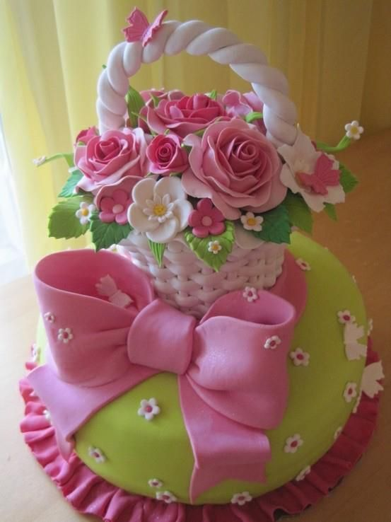 How To Make A Basket Of Flowers Cake : Best images about flower basket on fall