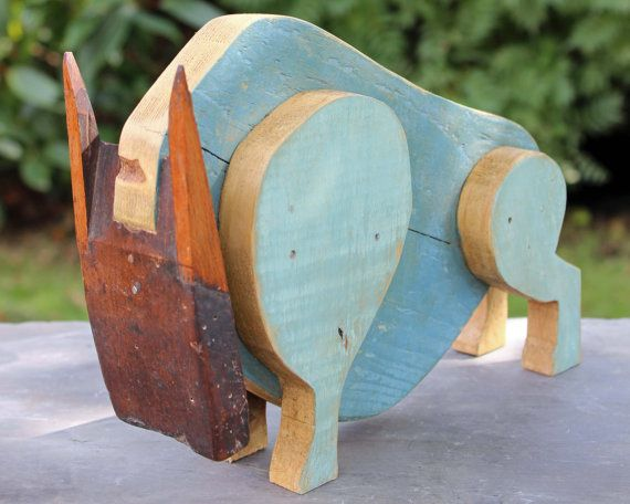 Blue Bull Salvaged Wooden Rustic Art Animal Sculpture by Reclaimed Time