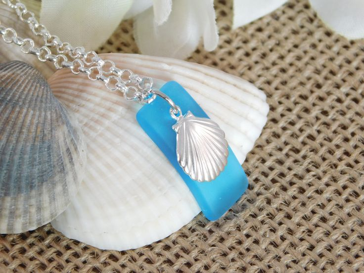 Excited to share the latest addition to my #etsy shop: Seashell Necklace - Sea Glass Pendant Necklace - Blue Seashell Necklace - Silver Plated Chain - Necklace - Accessories - Beach Jewelry - Sea