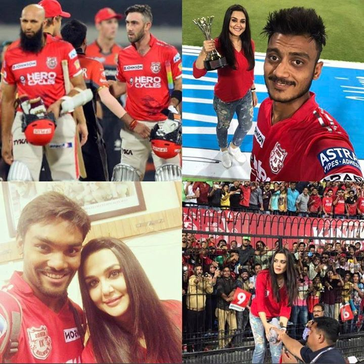 Kings XI Punjab co-owner Real Preity Zinta poses with her team players after the win #IPL2017 #KXIPvRCB - http://ift.tt/1ZZ3e4d