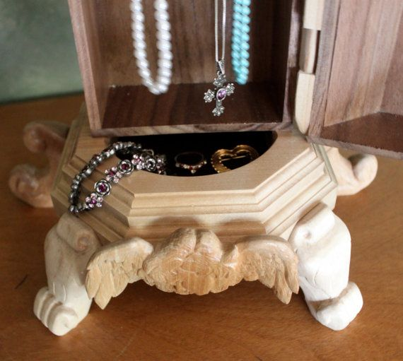 Gorgeous 18 3/4 tall jewelry box w/ carved by CopperPennyCrafts