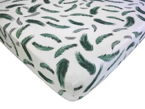 Muslin Cotton Fitted Crib Sheet - Green Feather