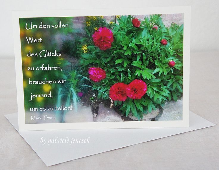 "Karte Grüße Grußkarte ""Pfingstrose"" von PHOTOGLÜCK auf DaWanda.com"