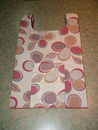 Tutorial for cute reusable shopping bag with a small pocket it folds into